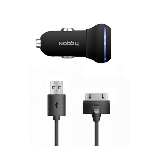 Автомобильное ЗУ USB, 1A + кабель iPhone/iPad(30pin)