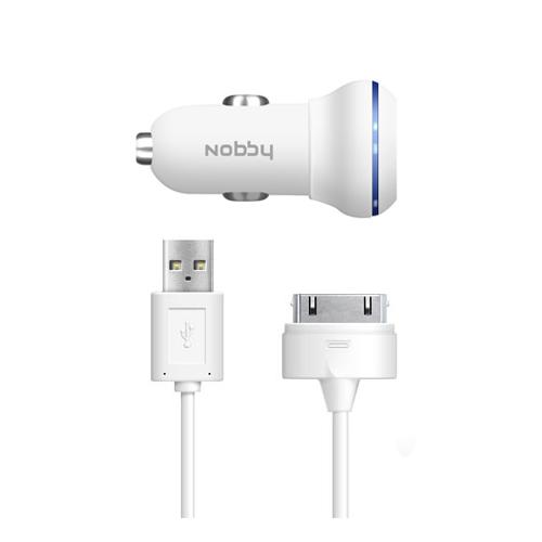 2 USB Car Charger 1A/2A + iPhone/iPad(30 pin) Cable